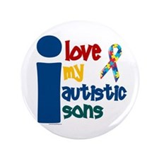 """I Love My Autistic Sons 1 3.5"""" Button (100 pack)"""