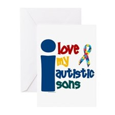 I Love My Autistic Sons 1 Greeting Cards (Pk of 10