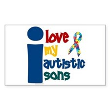 I Love My Autistic Sons 1 Rectangle Decal