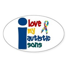 I Love My Autistic Sons 1 Oval Decal