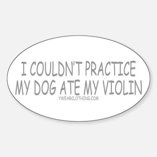 Dog Ate Violin Oval Decal