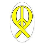 Yellow Peace Ribbon Oval Sticker (50 pk)