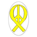 Yellow Peace Ribbon Oval Sticker (10 pk)
