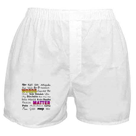 PEACE in 29 Languages Boxer Shorts