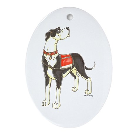 NMtl Red Vest Oval Ornament
