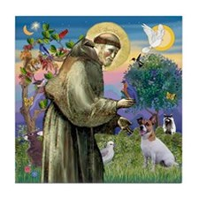 St. Francis & Jack Russell Terrier Tile Coaster