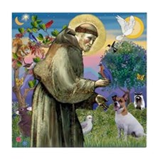 St Francis & Jack Russell Terrier Tile Coaster