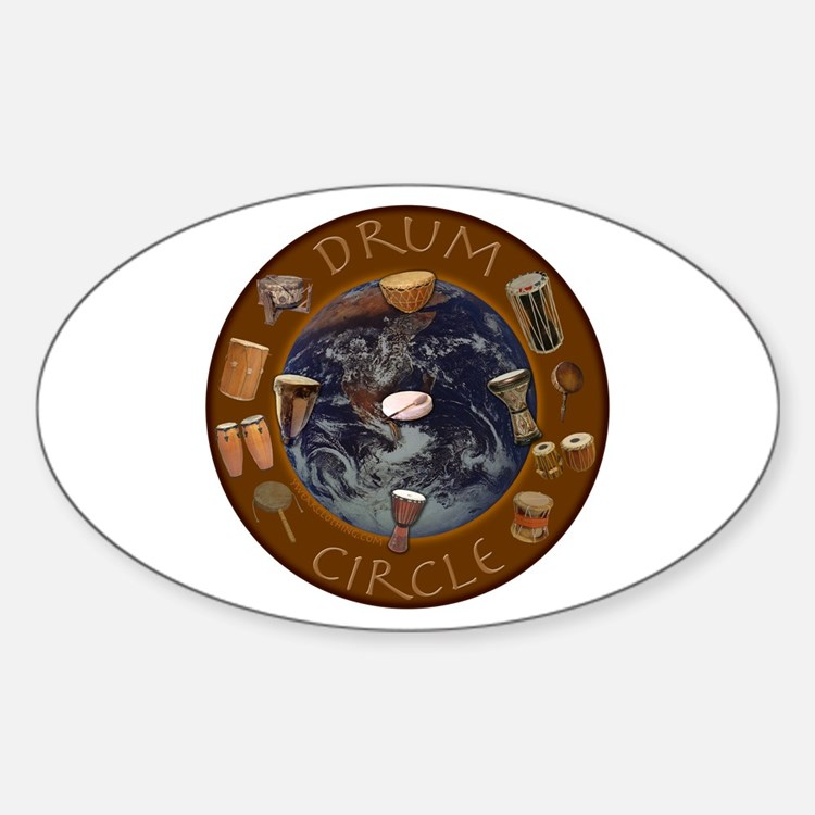 World Drum Circle Oval Decal