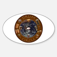 World Drum Circle Oval Stickers