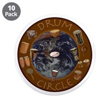 "World Drum Circle 3.5"" Button (10 pack)"