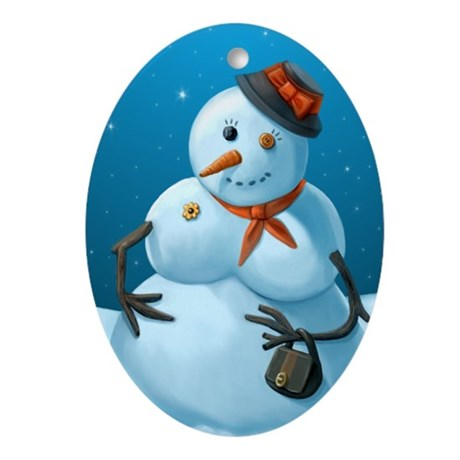 Mrs. Frosty Ornament Keepsake (Oval)