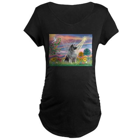 Cloud Angel/Keeshond #2 Maternity Dark T-Shirt