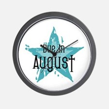 Blue Star Due In August Wall Clock