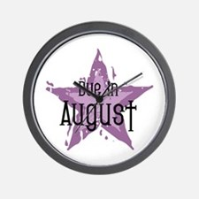 Purple Star Due In August Wall Clock
