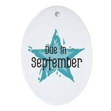 Blue Star Due In September Oval Ornament