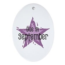 Purple Star Due In September Oval Ornament