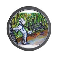 Poodle squirrel chaser Wall Clock
