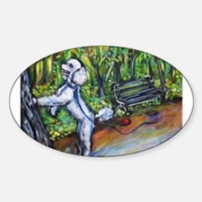 Poodle squirrel chaser Oval Decal
