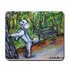 Poodle squirrel chaser Mousepad