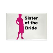 Silhouette Sister of the Bride Rectangle Magnet