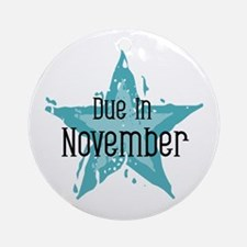 Blue Star Due In November Ornament (Round)