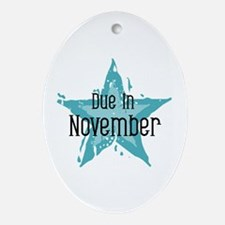 Blue Star Due In November Oval Ornament
