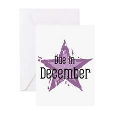 Purple Star Due In December Greeting Card
