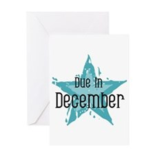 Blue Star Due In December Greeting Card
