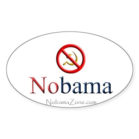 White Nobama Oval Sticker (10 pk)