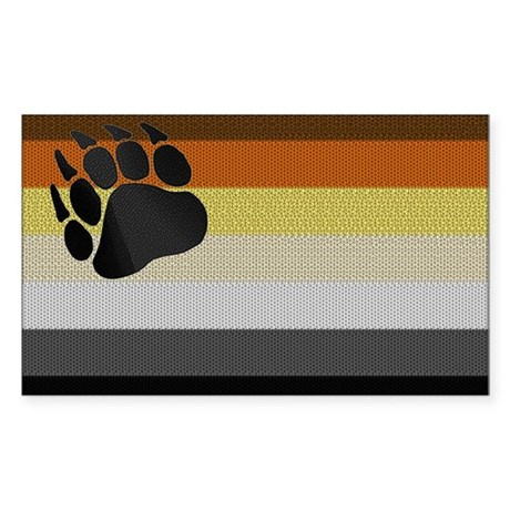 BEAR PRIDE FLAG/LARGE PAW Rectangle Sticker