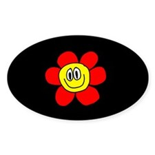 Smiling Flower Oval Decal