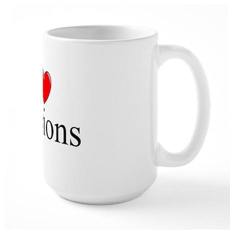 """I Love (Heart) Pensions"" Large Mug"