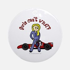Blonde Race Car Driver Ornament (Round)