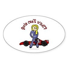 Blonde Race Car Driver Oval Decal