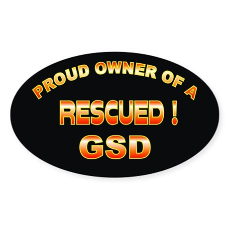 Rescued GSD Oval Sticker