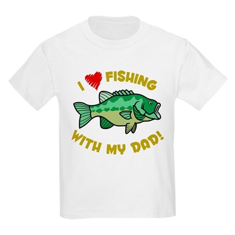 I LOVE FISHING WITH MY DAD! Kids Light T-Shirt
