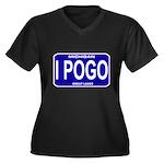 I Pogo Women's Plus Size V-Neck Dark T-Shirt