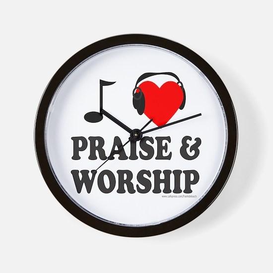 I HEART PRAISE AND WORSHIP Wall Clock