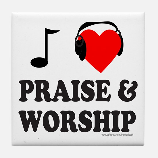I HEART PRAISE & WORSHIP Tile Coaster