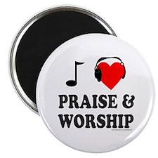 """I HEART PRAISE & WORSHIP 2.25"""" Magnet (10 pack)"""