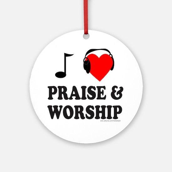 I HEART PRAISE & WORSHIP Ornament (Round)