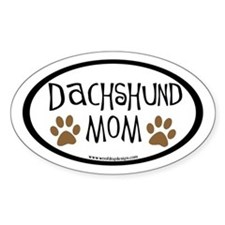 Dachshund Mom Oval (inner border) Oval Decal