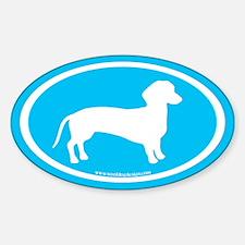 dachshund dog (white on blue) Oval Decal