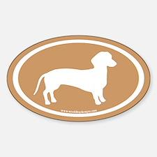 dachshund dog (white on tan) Oval Decal