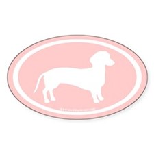 dachshund dog (white on light pink) Oval Decal
