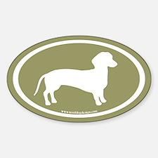 dachshund dog (white on sage) Oval Decal
