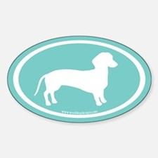 dachshund dog (white on teal blue) Oval Decal
