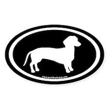 dachshund dog (white on black) Oval Decal