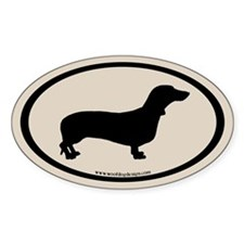 Dachshund Oval (black on off-white) Oval Decal