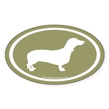 Dachshund Oval (white on sage) Oval Decal